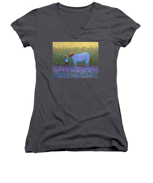 Women's V-Neck T-Shirt (Junior Cut) featuring the painting Out Of The Pasture by James W Johnson
