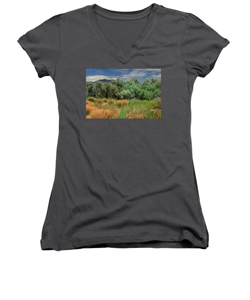 Women's V-Neck featuring the photograph Out On The Mesa 1 by Ron Cline