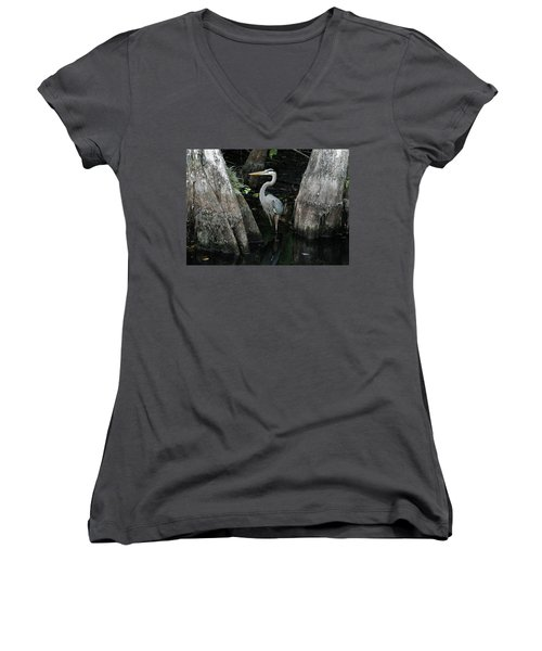 Out Standing In The Swamp Women's V-Neck T-Shirt (Junior Cut) by Lamarre Labadie