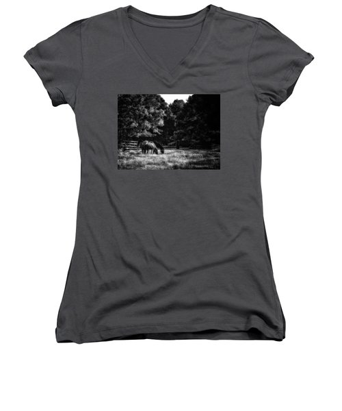 Women's V-Neck T-Shirt (Junior Cut) featuring the photograph Out To Pasture Bw by Mark Fuller