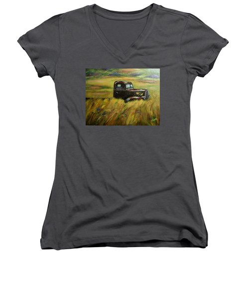 Women's V-Neck T-Shirt (Junior Cut) featuring the painting Out To Pasture by Gail Kirtz