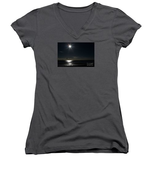Women's V-Neck T-Shirt (Junior Cut) featuring the photograph Out To Sea  by Gary Bridger