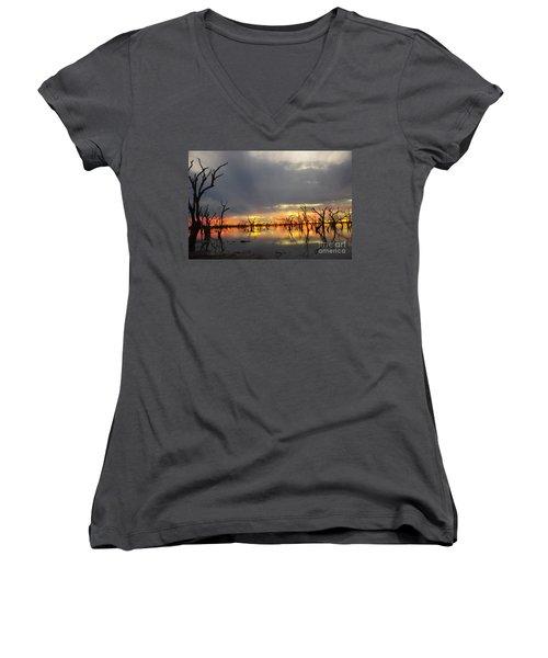 Outback Sunset Women's V-Neck T-Shirt