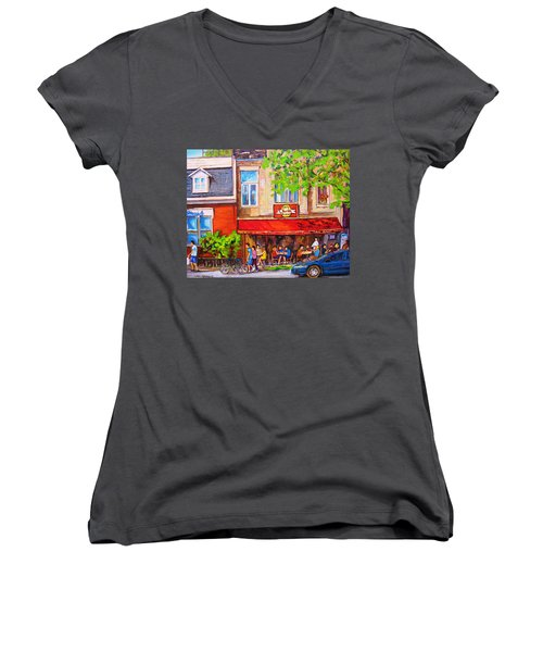 Women's V-Neck T-Shirt (Junior Cut) featuring the painting Outdoor Cafe by Carole Spandau