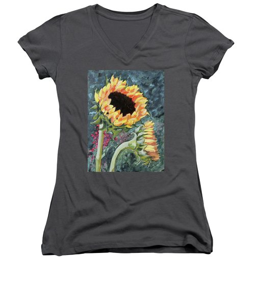 Outdoor Sunflowers Women's V-Neck (Athletic Fit)