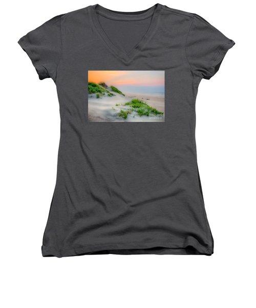 Outer Banks Soft Dune Sunrise Women's V-Neck T-Shirt (Junior Cut) by Dan Carmichael
