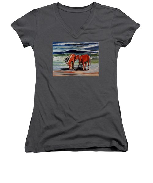 Outer Banks Wild Horses Women's V-Neck T-Shirt