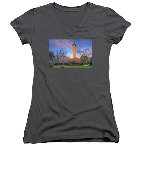 Outer Banks Winter At The Currituck Lighthouse Women's V-Neck T-Shirt (Junior Cut) by Dan Carmichael