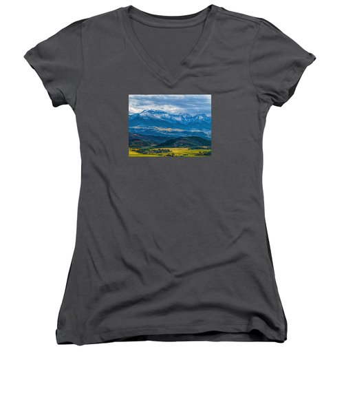 Outside Of Ridgway Women's V-Neck T-Shirt (Junior Cut) by Alana Thrower