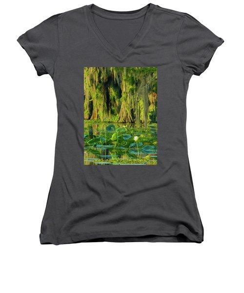 Outstanding Lotus Women's V-Neck T-Shirt (Junior Cut) by Kimo Fernandez