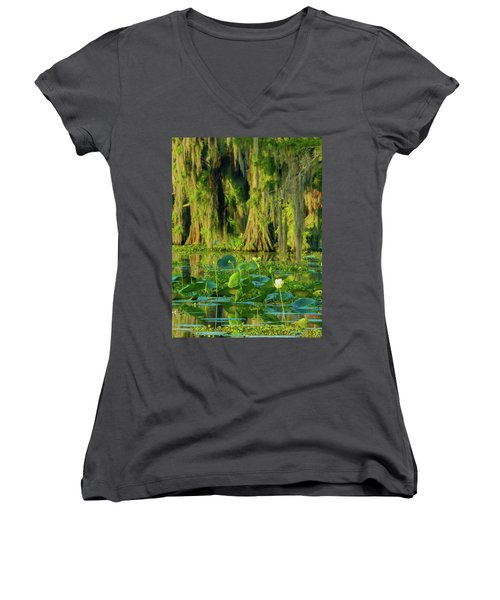 Outstanding Lotus Women's V-Neck (Athletic Fit)