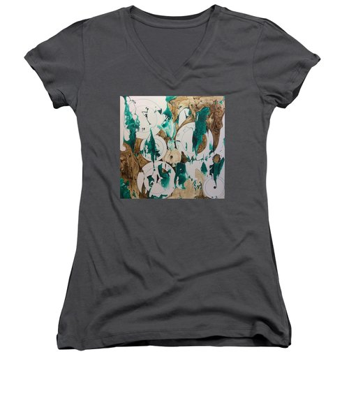 Over And Under Women's V-Neck T-Shirt (Junior Cut) by Pat Purdy