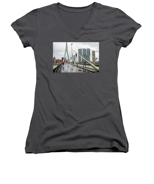 Women's V-Neck T-Shirt (Junior Cut) featuring the photograph Over The Erasmus Bridge In Rotterdam With Red Umbrella by RicardMN Photography