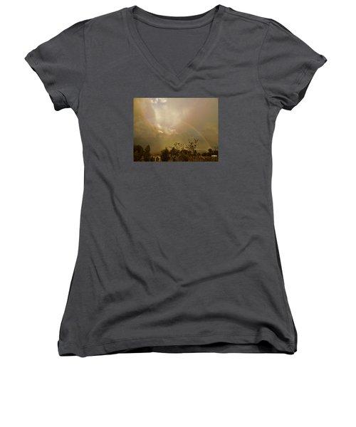 Over The Rainbow Garden Women's V-Neck T-Shirt (Junior Cut) by Deborah Moen