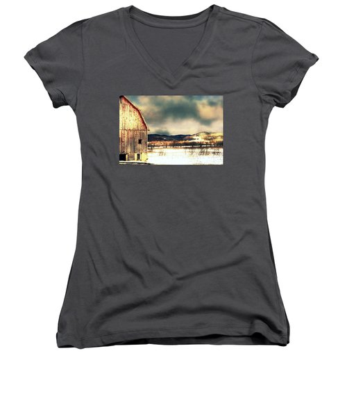 Women's V-Neck T-Shirt (Junior Cut) featuring the photograph Over Yonder by Julie Hamilton