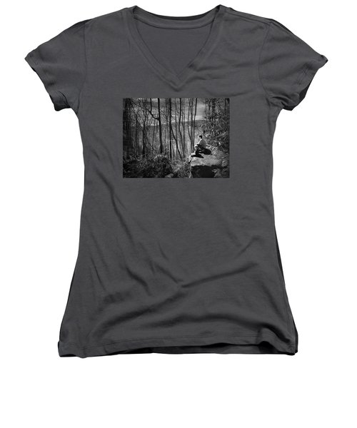 Overlook By Rainbow Falls Women's V-Neck T-Shirt (Junior Cut) by Kelly Hazel