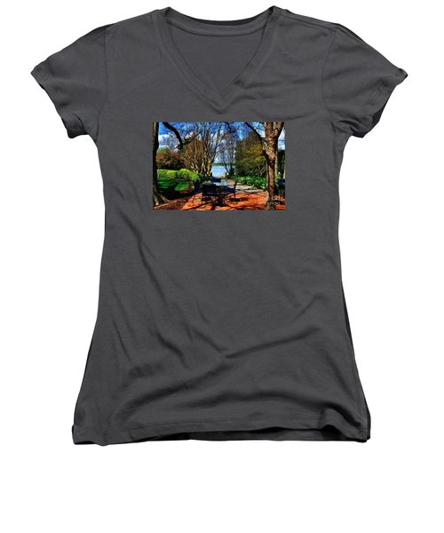 Overlook Cafe Women's V-Neck T-Shirt (Junior Cut) by Diana Mary Sharpton