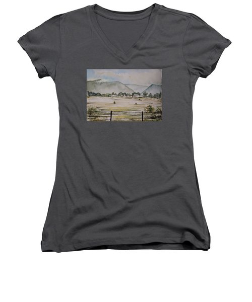 Overlooking The Hills Women's V-Neck T-Shirt
