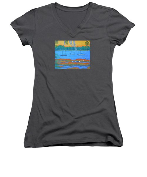Overnight In Beaufort Women's V-Neck T-Shirt (Junior Cut) by Dwain Ray