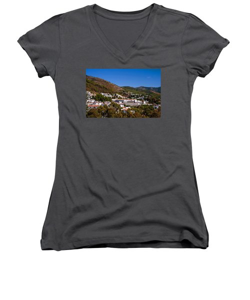 Women's V-Neck T-Shirt (Junior Cut) featuring the photograph Overview Of Mijas Village by Jenny Rainbow