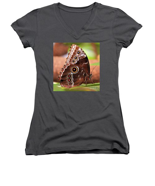 Owl Butterfly Portrait Women's V-Neck (Athletic Fit)