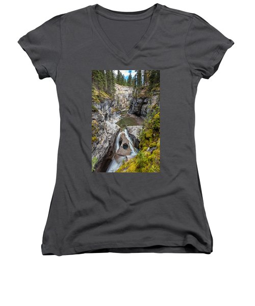 Women's V-Neck T-Shirt (Junior Cut) featuring the photograph Owl Face Falls Of Maligne Canyon by Pierre Leclerc Photography