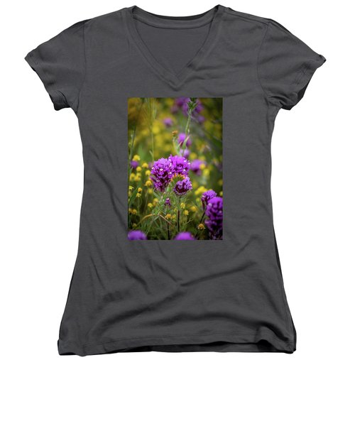 Women's V-Neck T-Shirt (Junior Cut) featuring the photograph Owl's Clover by Peter Tellone
