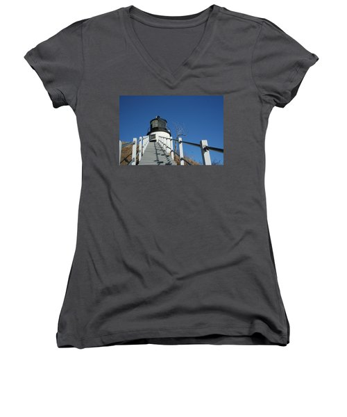Owls Head Lighthouse Winter Women's V-Neck (Athletic Fit)
