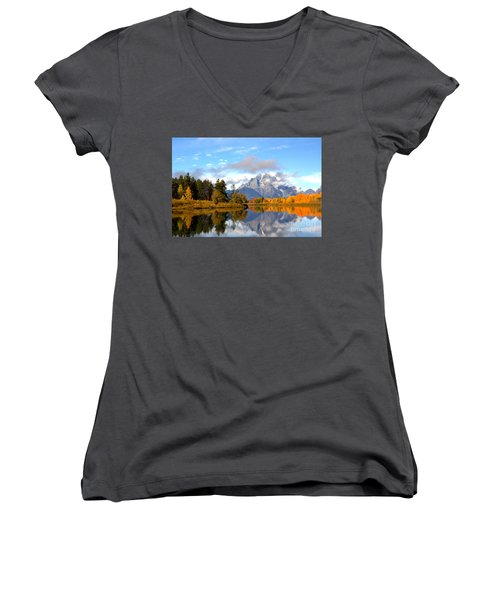 Mt Moran At Oxbow Bend Women's V-Neck