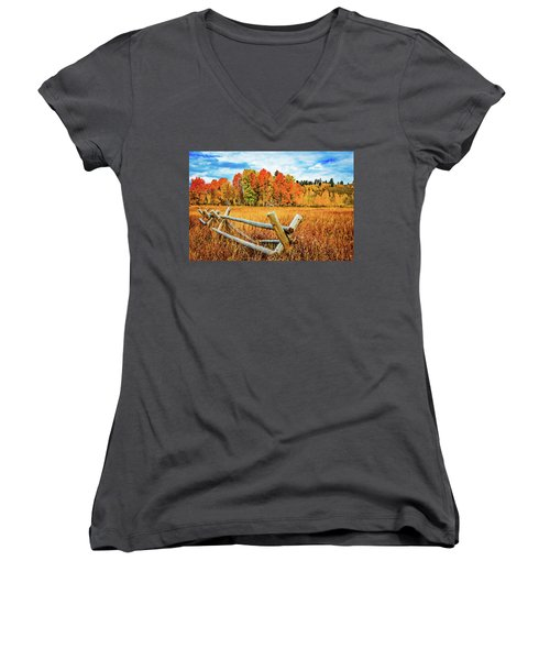 Oxbow Bend Fall Color Women's V-Neck (Athletic Fit)