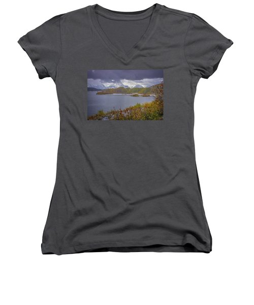 Oxbow Bend Fall Snowfall Women's V-Neck (Athletic Fit)