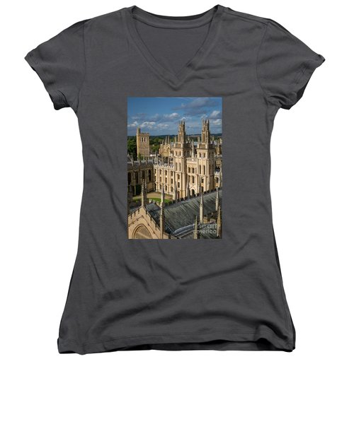 Women's V-Neck T-Shirt (Junior Cut) featuring the photograph Oxford Spires by Brian Jannsen
