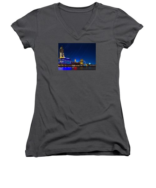 Oxo Tower Star Trails Women's V-Neck T-Shirt (Junior Cut) by David French