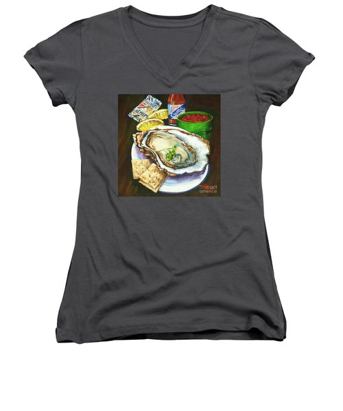 Oyster And Crystal Women's V-Neck (Athletic Fit)