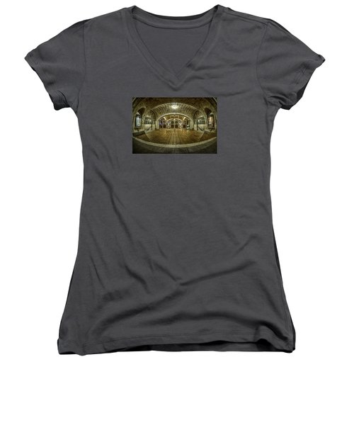 Oyster Bar Restaurant Women's V-Neck T-Shirt (Junior Cut) by Rafael Quirindongo
