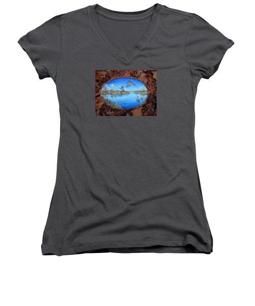 Oyster Creek Flock Women's V-Neck T-Shirt (Junior Cut) by Kevin F Heuman