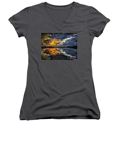 Oyster Lake Sunset Women's V-Neck T-Shirt (Junior Cut) by Walt Foegelle