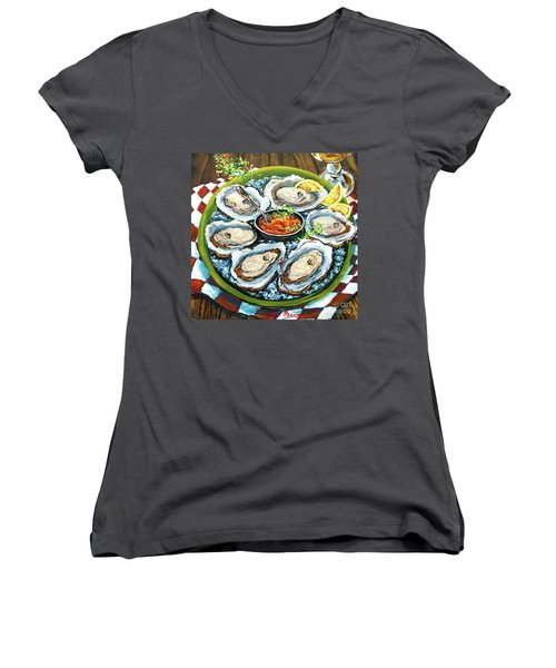 Oysters On The Half Shell Women's V-Neck (Athletic Fit)