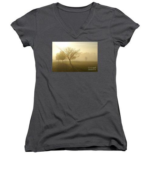 Ozarks Misty Golden Morning Sunrise Women's V-Neck T-Shirt (Junior Cut) by Jennifer White
