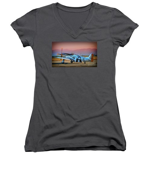 P-51d Mustang 'dakota Kid II. The Long Island Kid' And Casey Odegaard Women's V-Neck T-Shirt