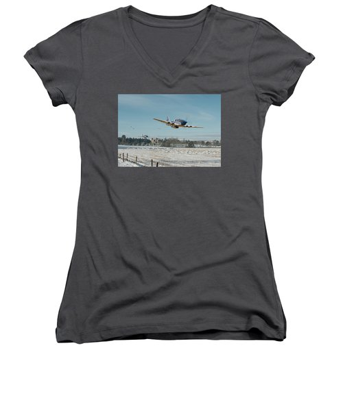 Women's V-Neck T-Shirt (Junior Cut) featuring the digital art P51 Mustang - Bodney Blue Noses by Pat Speirs