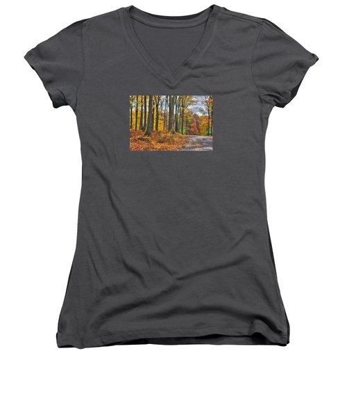 Pa Country Roads - Autumn Colorfest No. 3 - Fire In The Woods - Northumberland County Women's V-Neck T-Shirt (Junior Cut) by Michael Mazaika