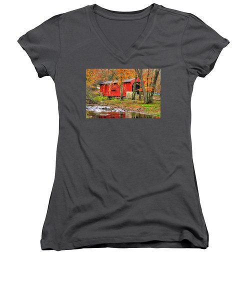 Pa Country Roads- Bartrams / Goshen Covered Bridge Over Crum Creek No.11 Chester / Delaware Counties Women's V-Neck T-Shirt (Junior Cut) by Michael Mazaika
