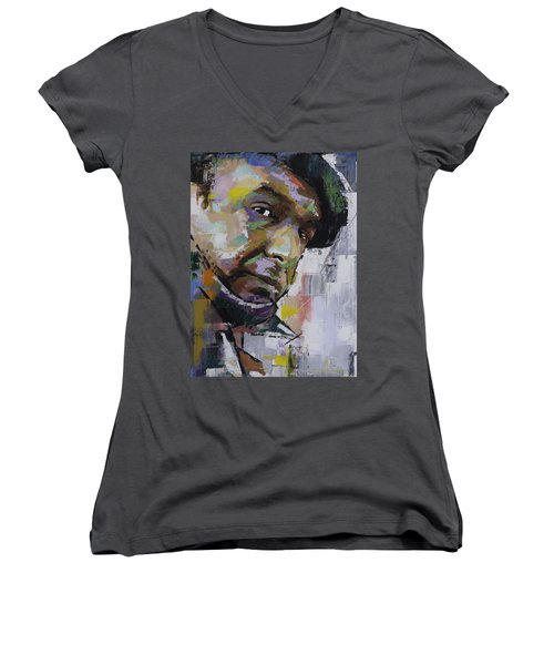 Women's V-Neck T-Shirt (Junior Cut) featuring the painting Pablo Neruda by Richard Day