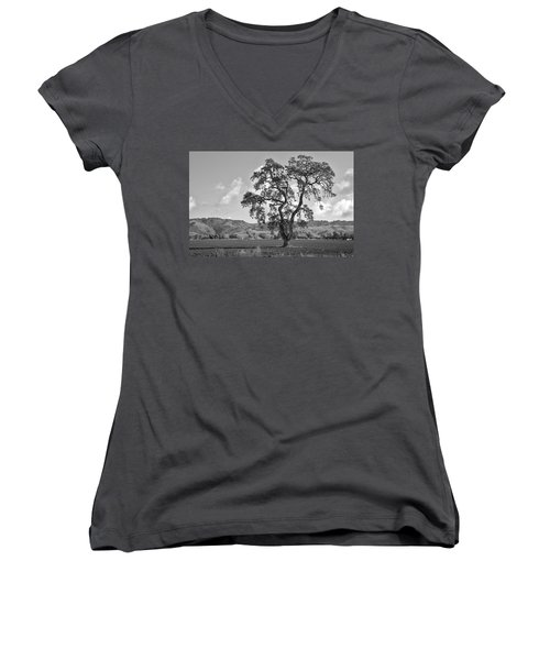Women's V-Neck T-Shirt (Junior Cut) featuring the photograph Pacheco Pass by Sonny Marcyan