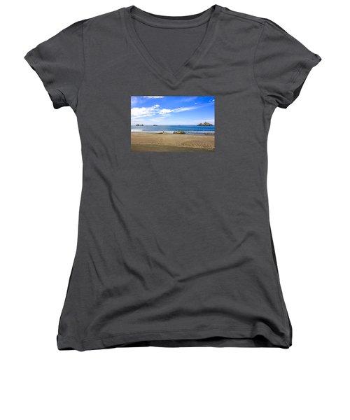 Pacific California Women's V-Neck T-Shirt (Junior Cut) by Chris Smith