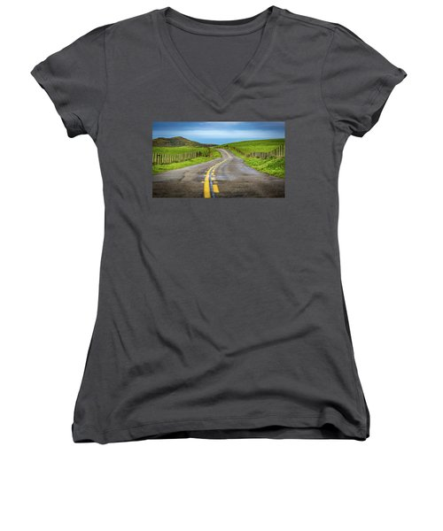 Pacific Coast Road To Tomales Bay Women's V-Neck