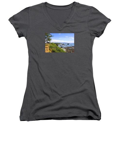 Pacific Coastline In California Women's V-Neck T-Shirt (Junior Cut) by Chris Smith