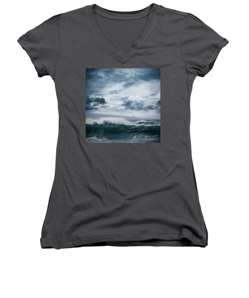 Women's V-Neck T-Shirt (Junior Cut) featuring the photograph He Inoa Wehi No Hookipa  Pacific Ocean Stormy Sea by Sharon Mau