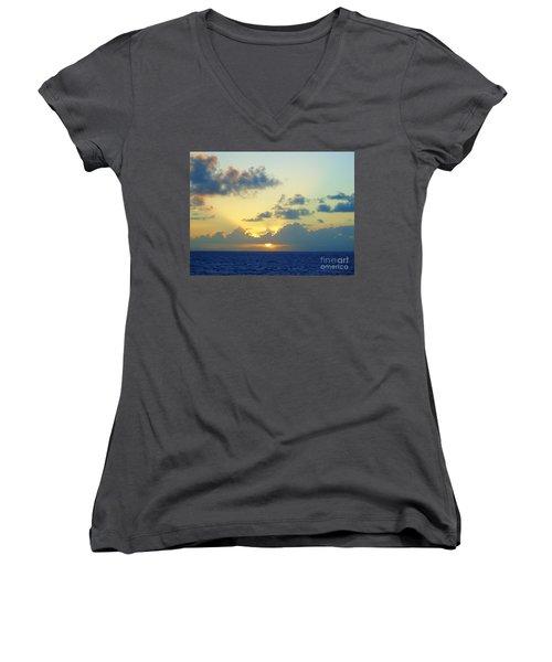 Pacific Sunrise, Japan Women's V-Neck T-Shirt (Junior Cut) by Susan Lafleur